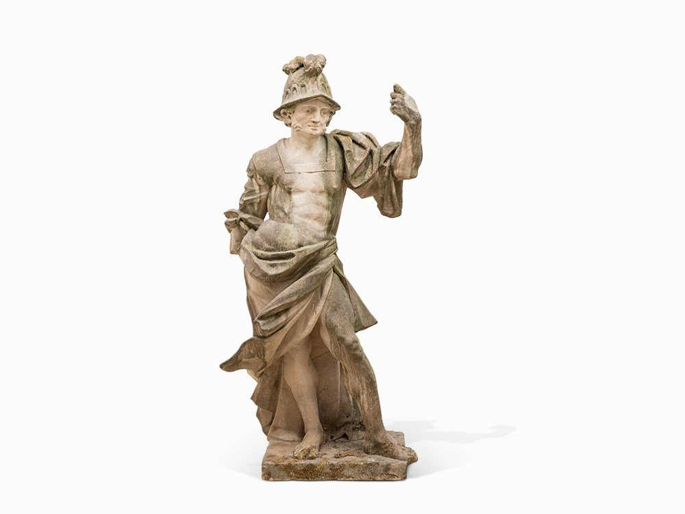 Baroque Sandstone Sculpture of the God Mars, 2nd H.