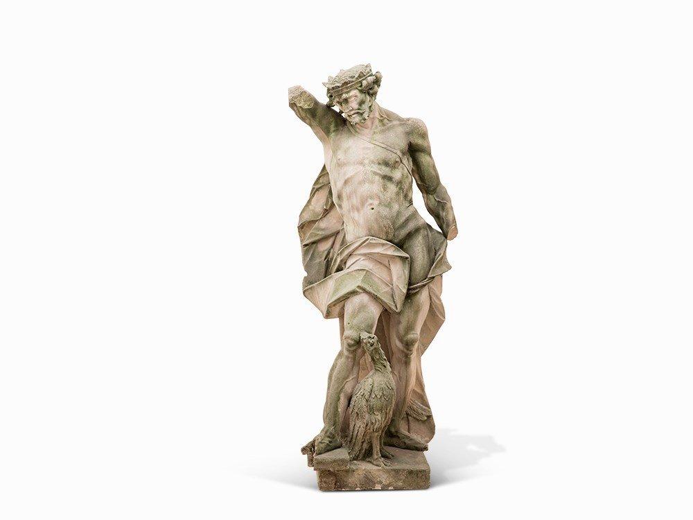 Baroque Sandstone Sculpture of Zeus, 2nd H. 18th C.