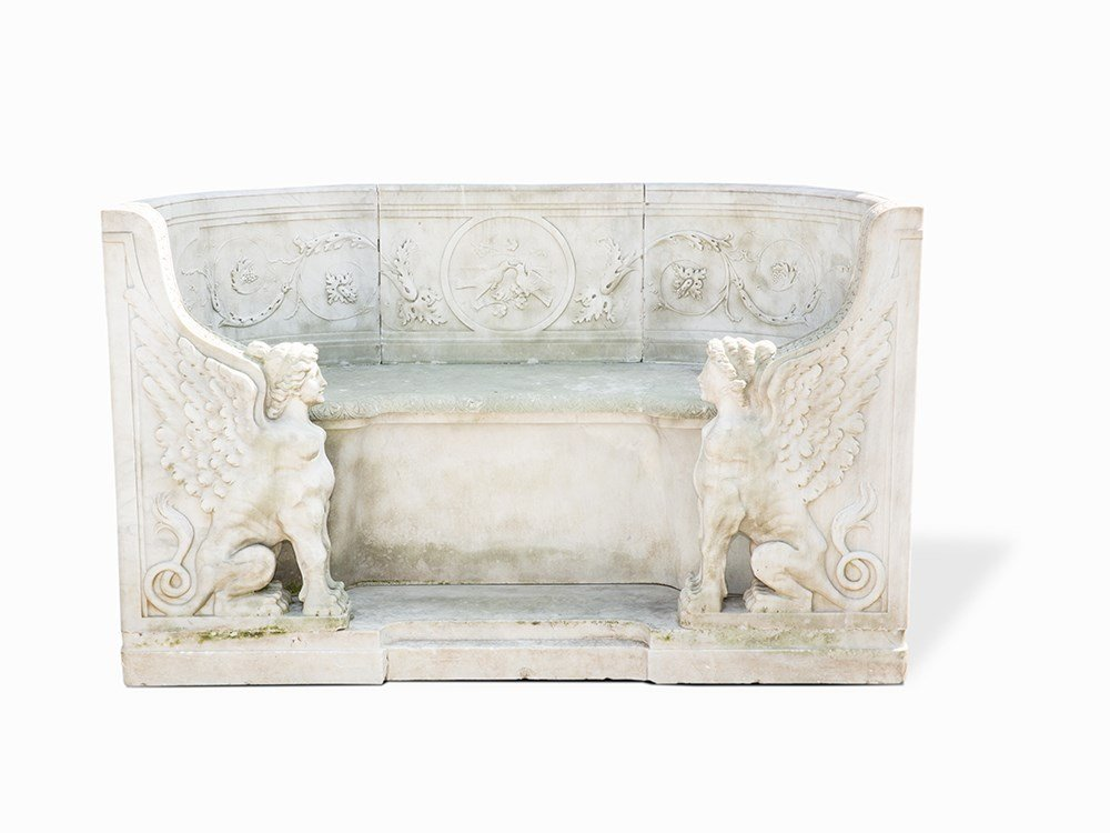 Park Bench of Marble in the Style of Classicism, Italy,