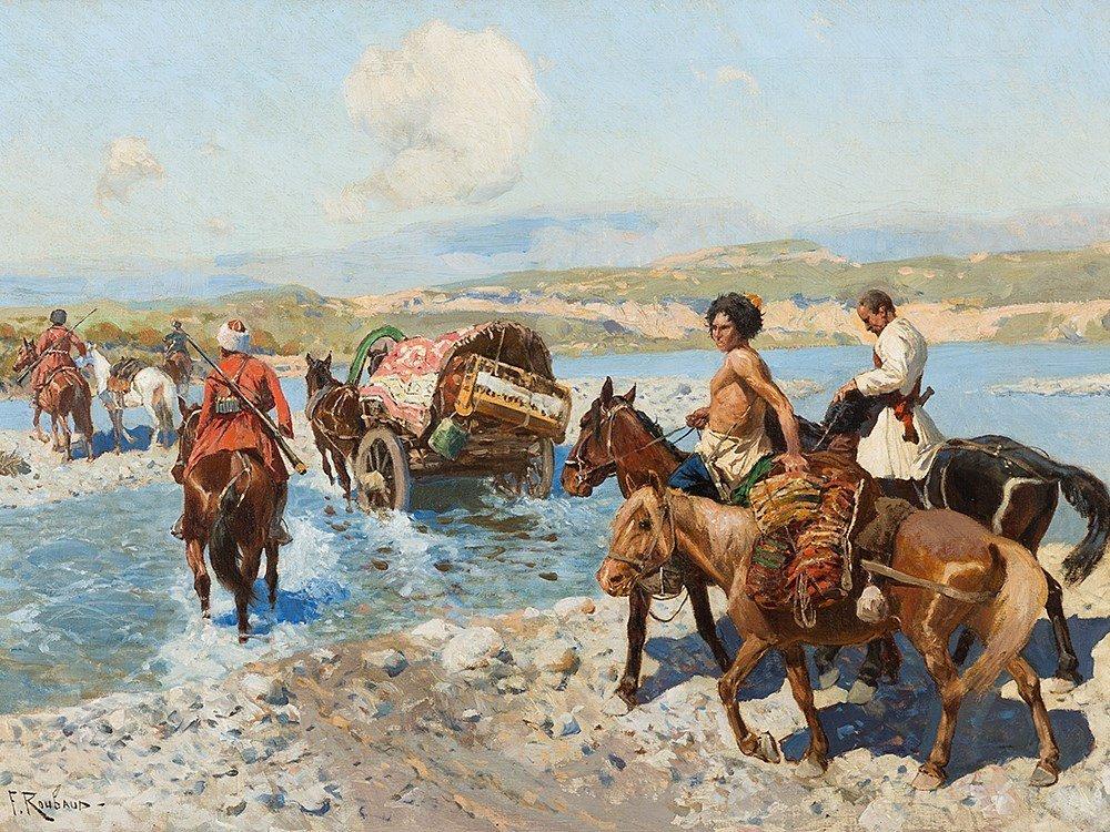 Franz Roubaud, Circassian Horsemen Fording a River,