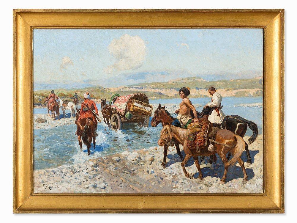 Franz Roubaud, Circassian Horsemen Fording a River, - 2