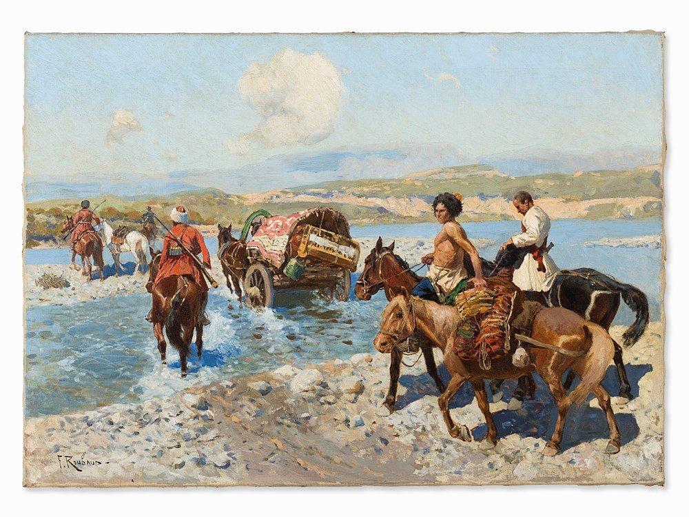 Franz Roubaud, Circassian Horsemen Fording a River, - 3