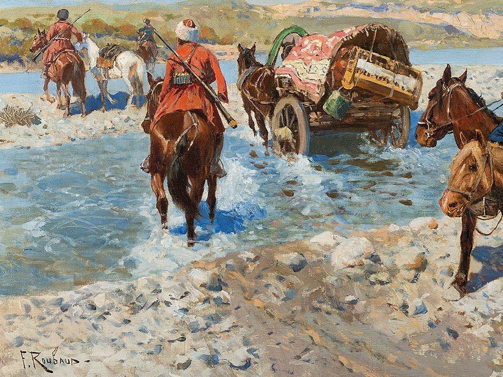 Franz Roubaud, Circassian Horsemen Fording a River, - 5