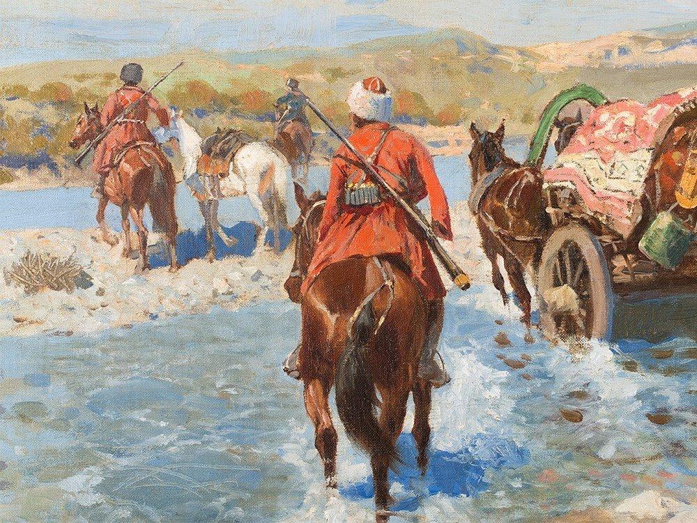 Franz Roubaud, Circassian Horsemen Fording a River, - 6