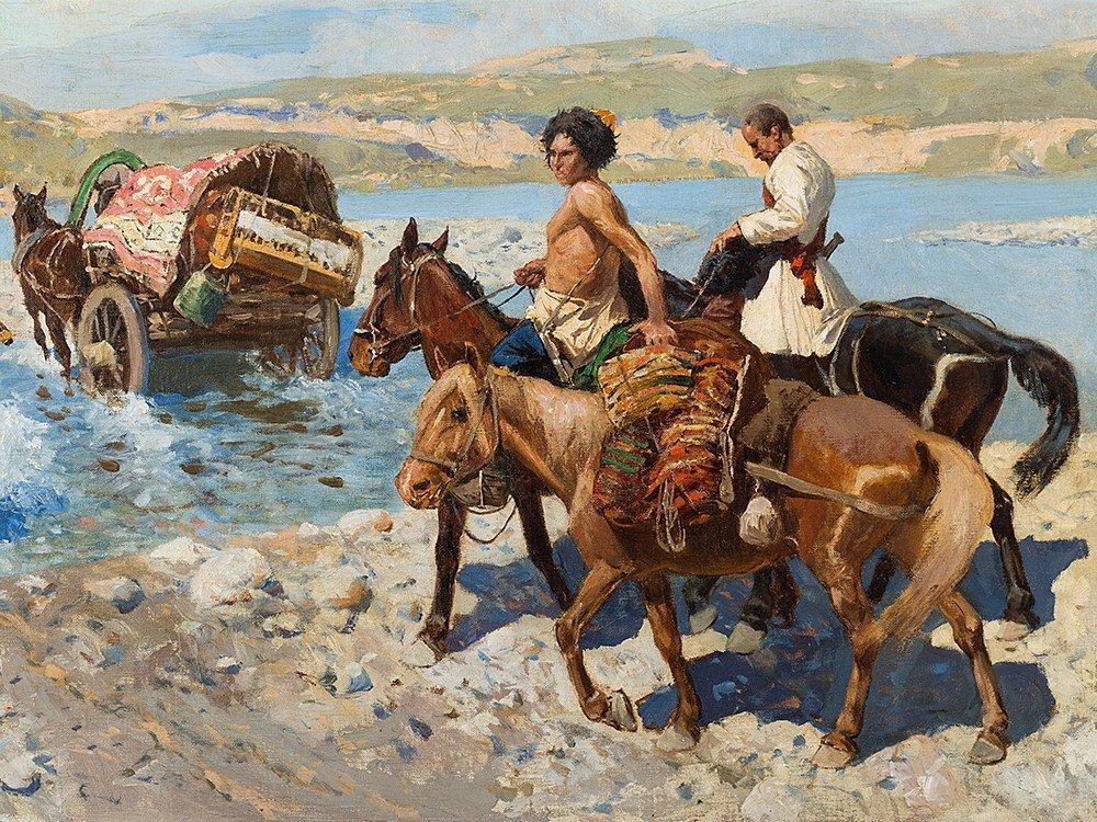 Franz Roubaud, Circassian Horsemen Fording a River, - 7