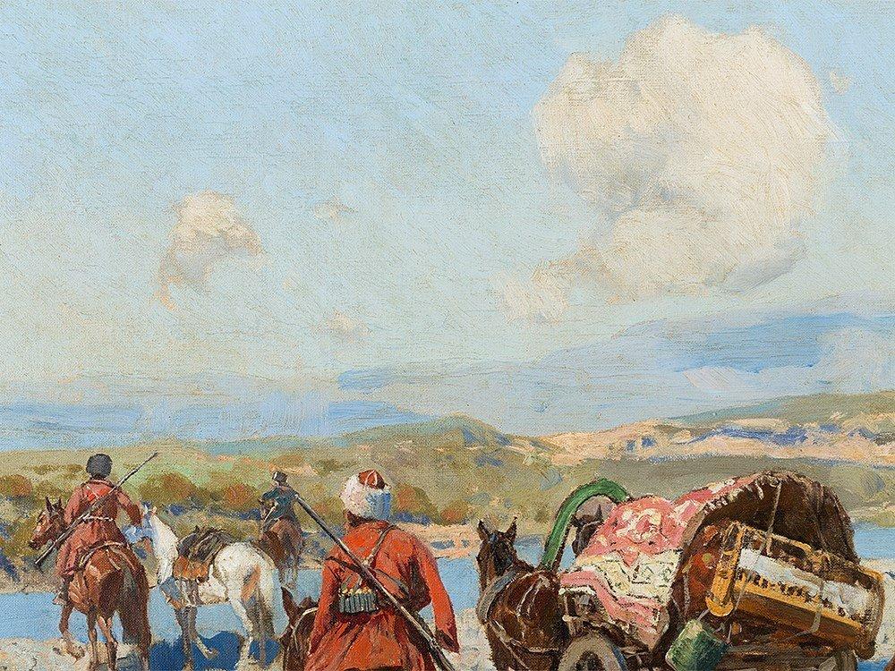 Franz Roubaud, Circassian Horsemen Fording a River, - 9