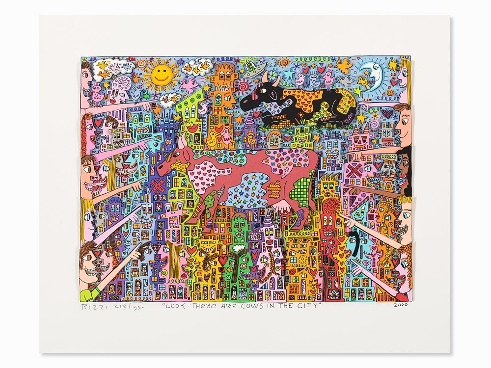 James Rizzi, Lithograph (3-D), 'Look-There Are Cows