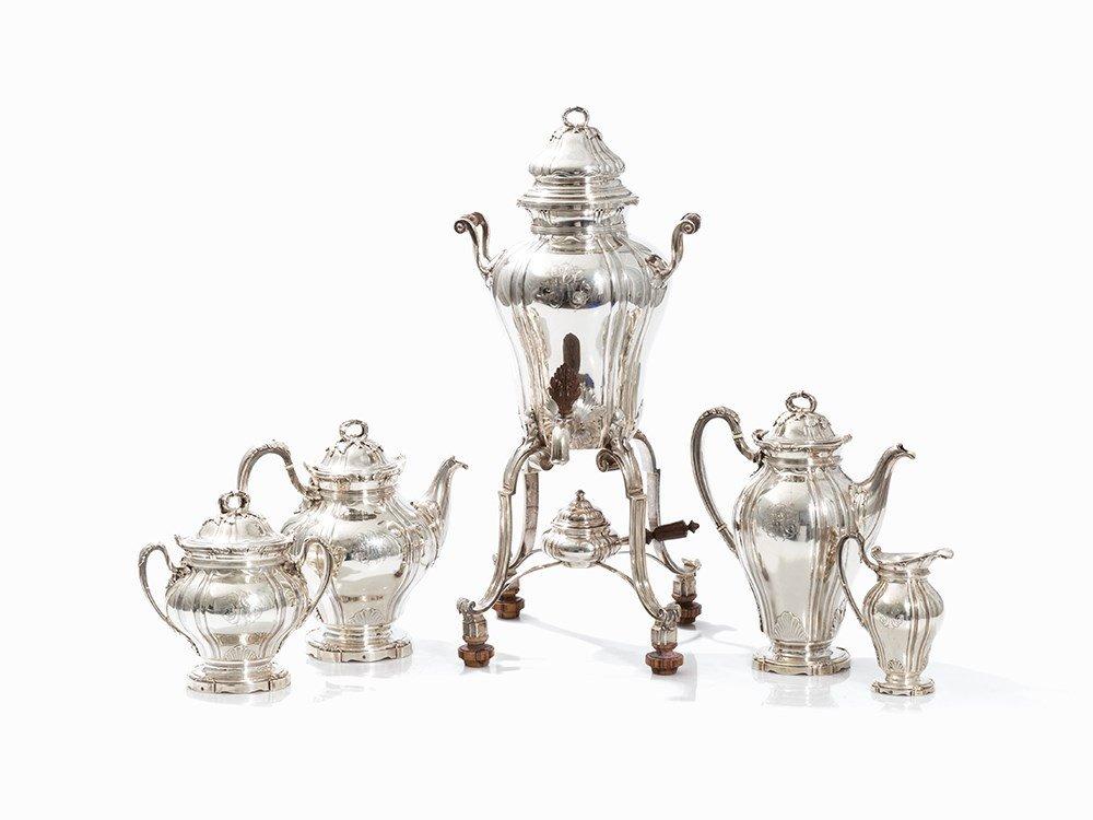Paul Canaux & Cie., 5-Piece Coffee & Tea Set, Silver,