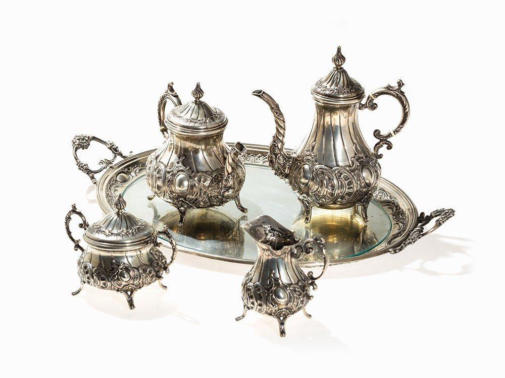 Large Silver Coffee and Tea Set, by Hintze; Hamburg, c.