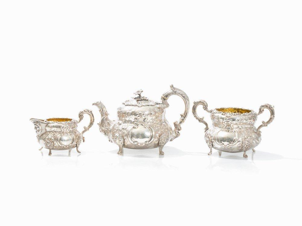 John Smyth, 3pieces Tea Set, Sterling Silver, Dublin,