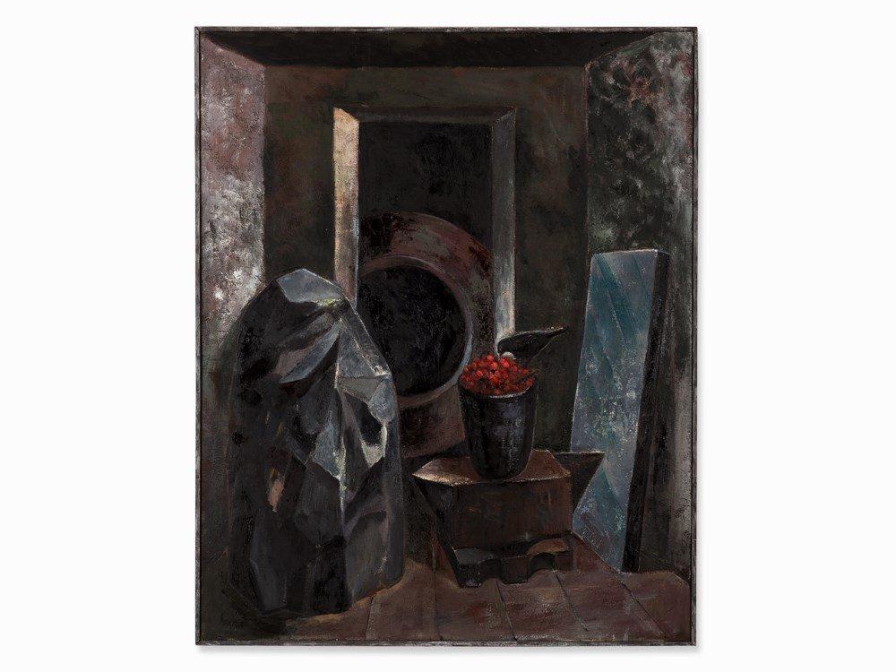 Martin Scholz (b. 1958), Das Verbotene Zimmer, Oil,