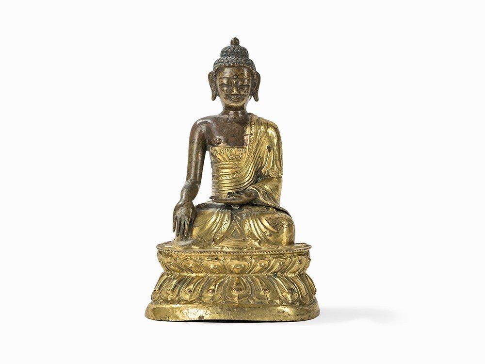 Fire Gilt Figure of Buddha Shakyamuni, Sino-Tibetan,