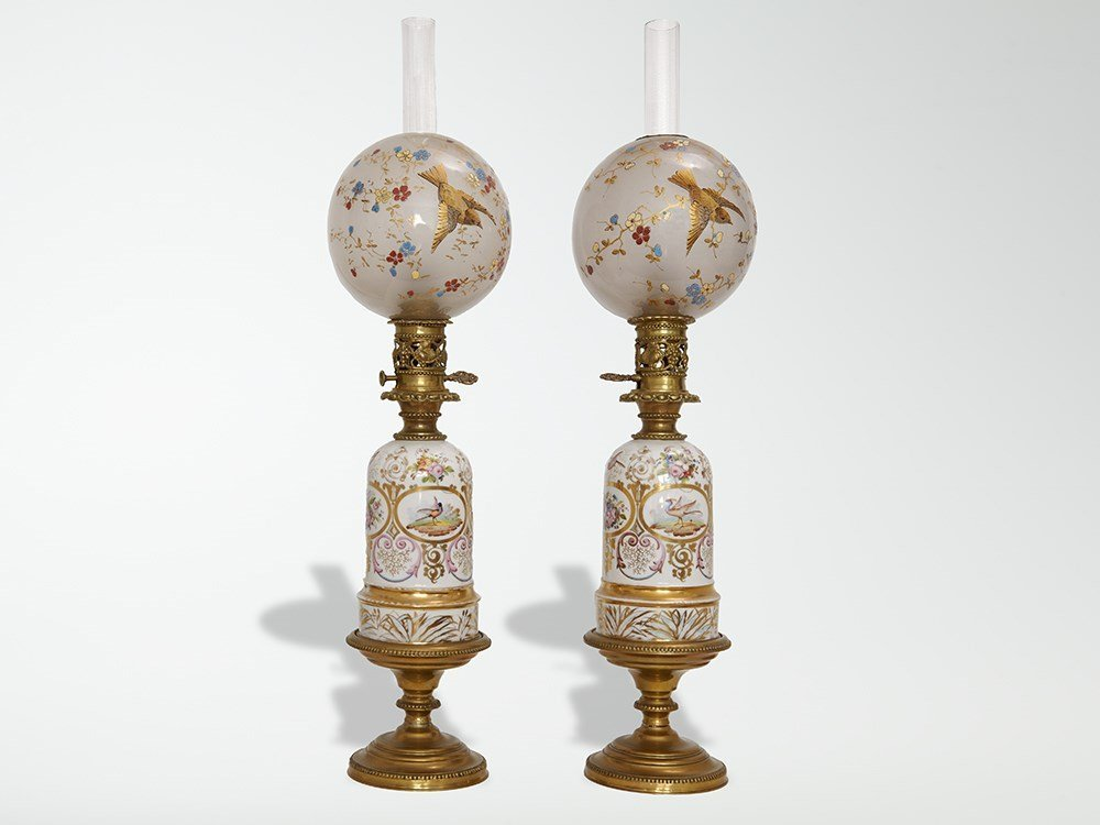 French pair of lamps in Old Paris porcelain, around
