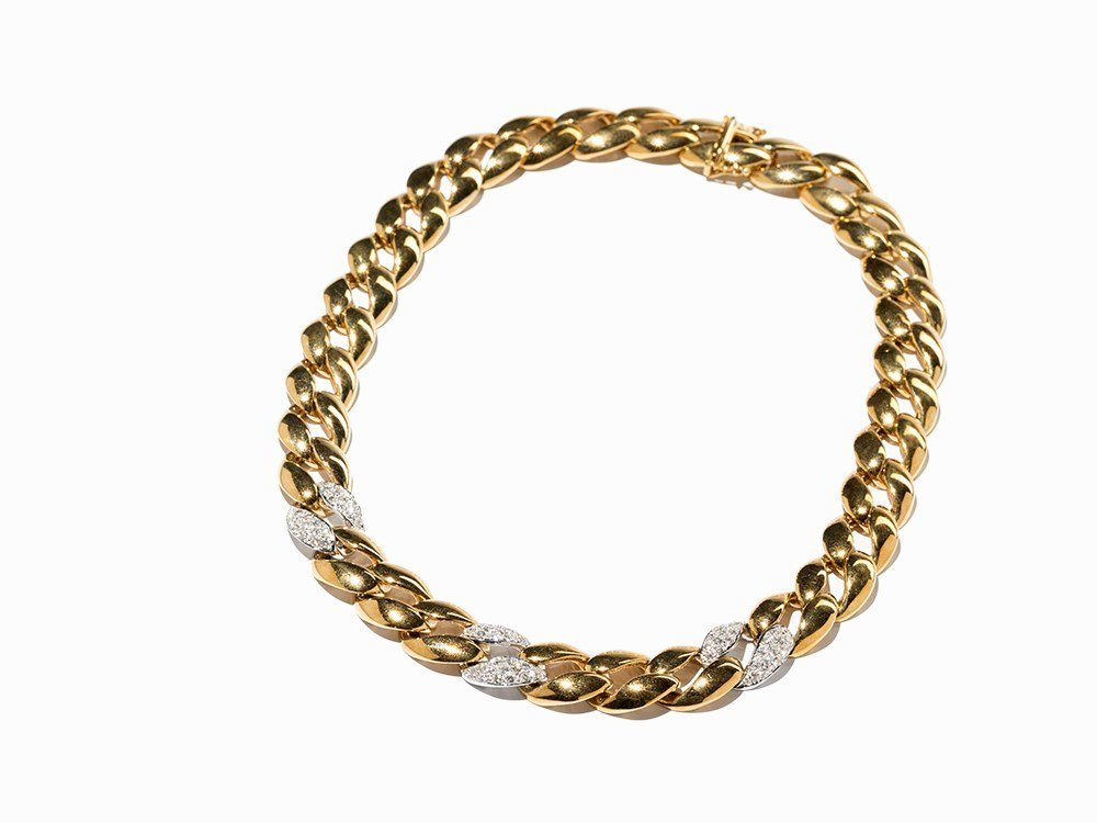 Curb Chain Necklace with 90 Diamonds, 18K White &