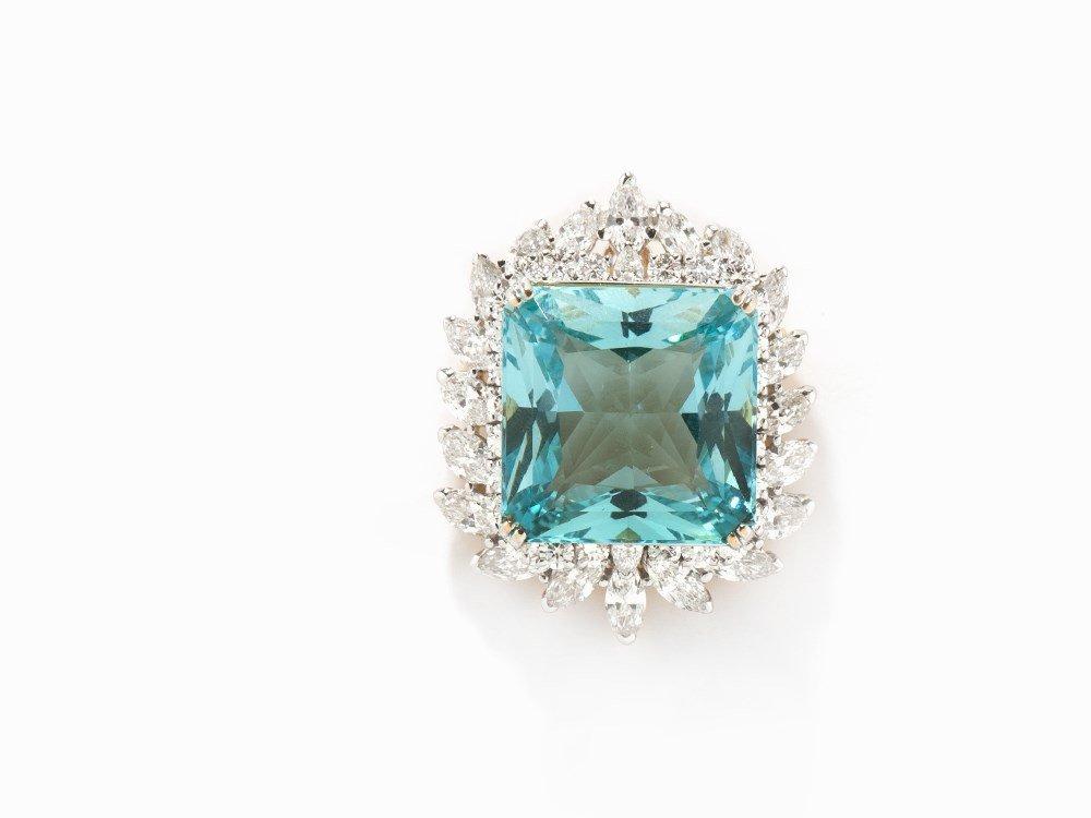 Brooch/Pendant with Aquamarine and Diamonds, 18K Gold