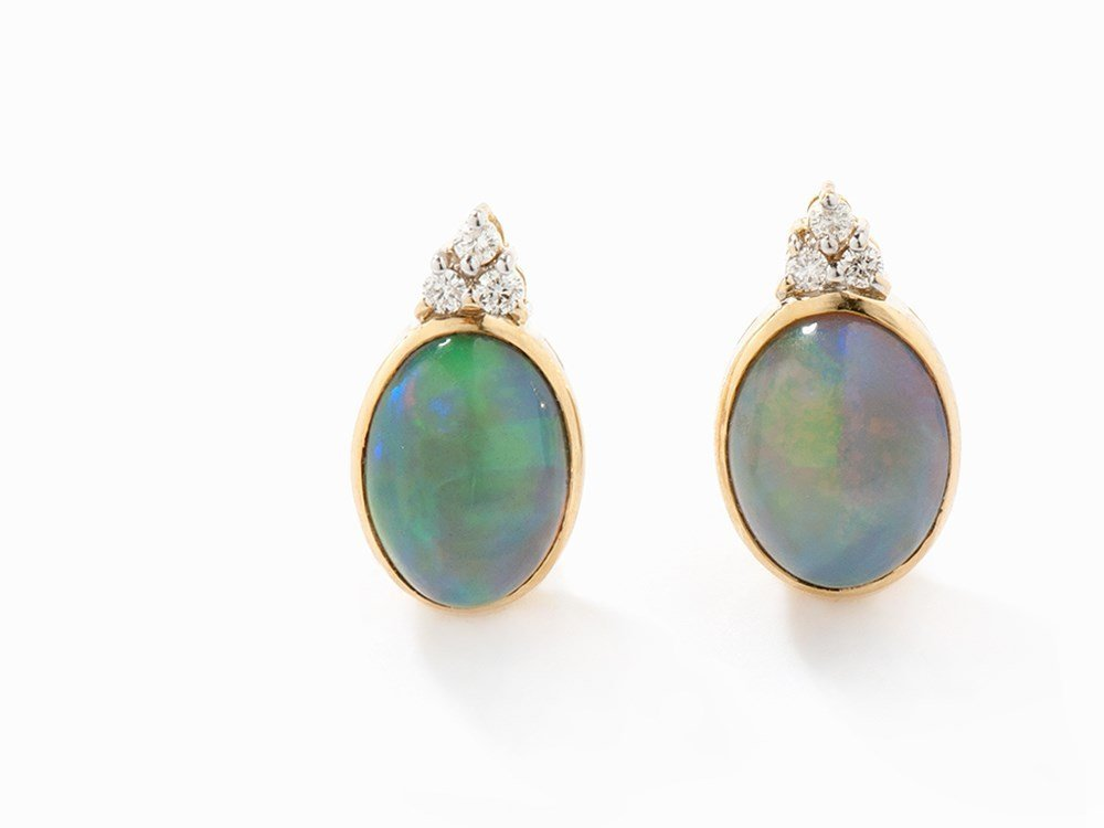 Earrings with Cabochon-Cut Opals & Diamonds, 18K Gold