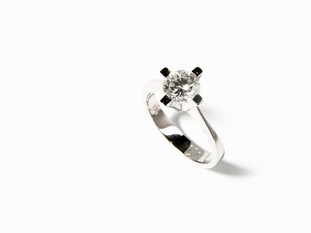 Solitaire Ring with Brilliant Cut Diamond of 1.12 ct.,