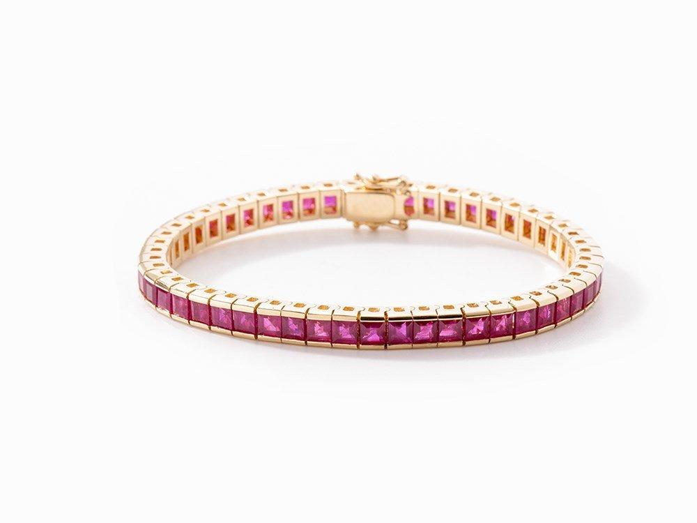 Bracelet with 51 Princess-Cut Rubies, 18K Yellow Gold