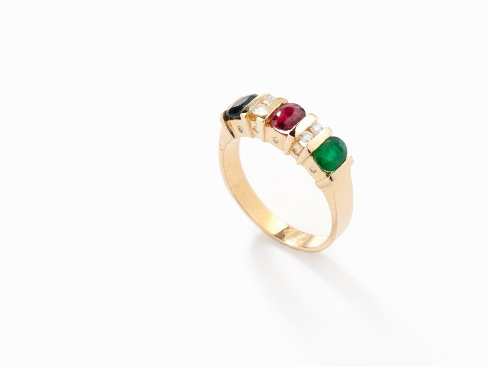 Band Ring with Sapphire, Emerald, Ruby and Diamonds,