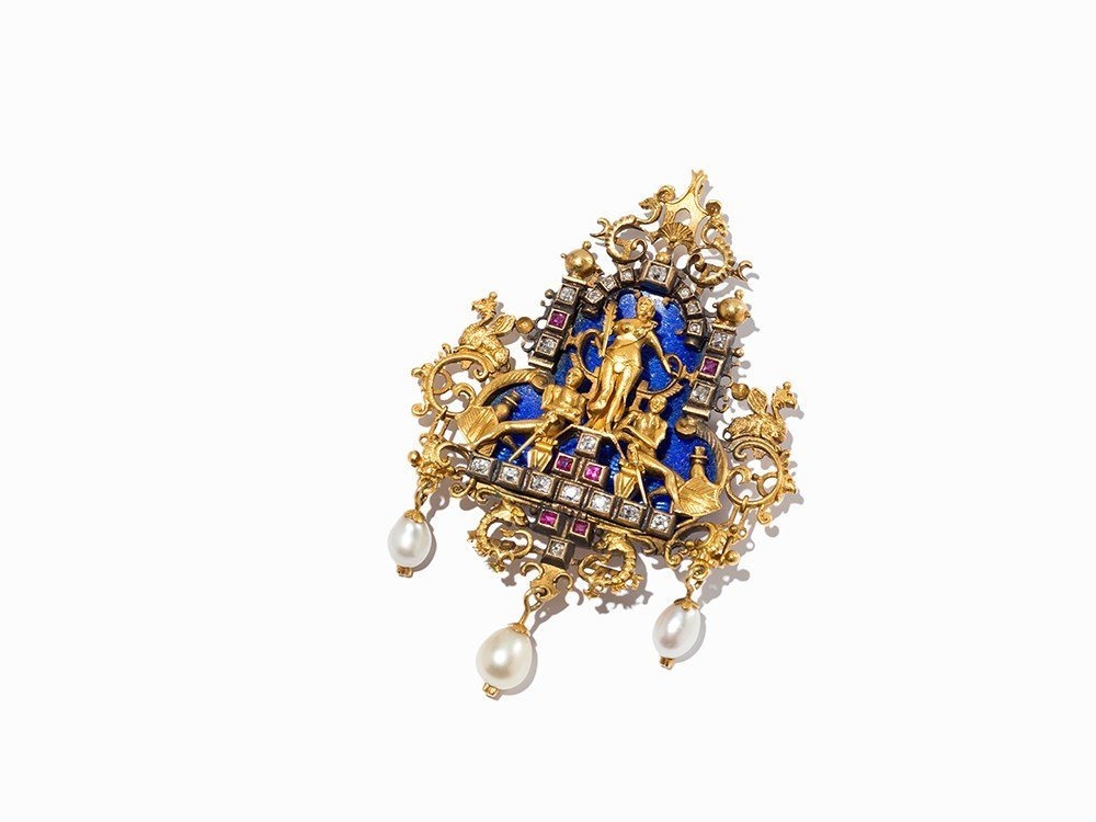 Pendant with 20 Diamonds, 6 Rubies, 3 Pearls and