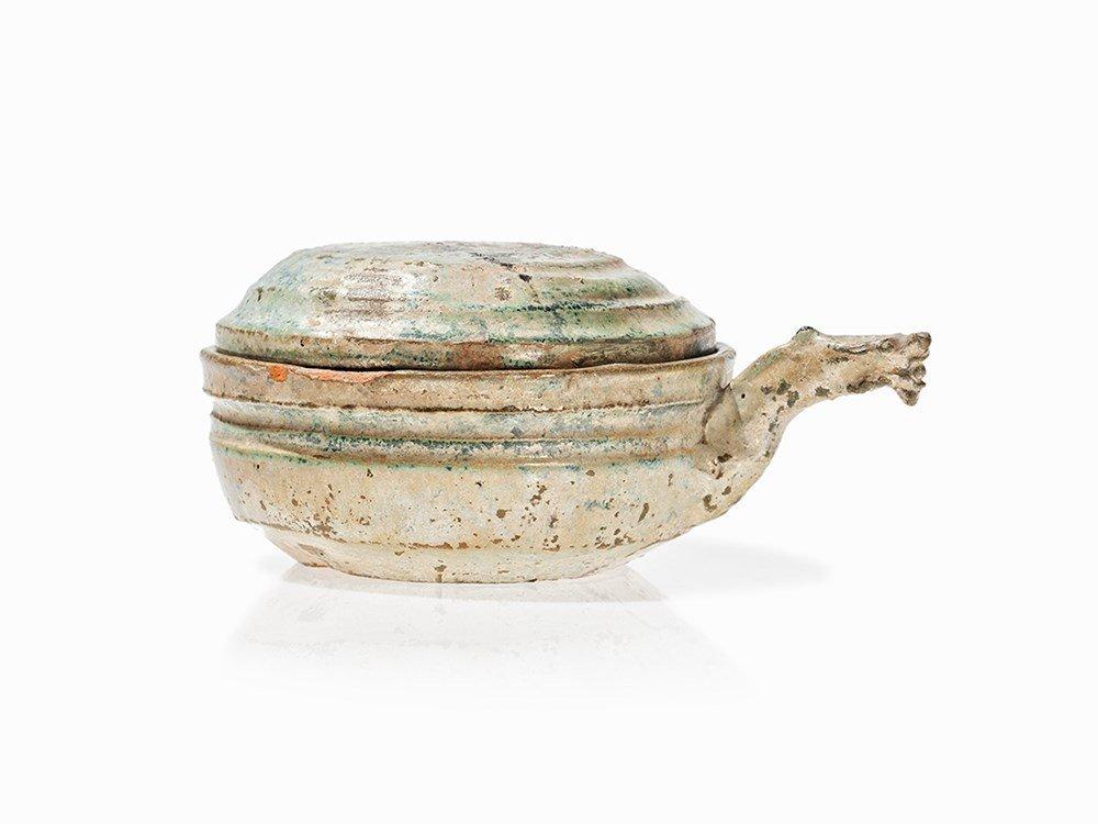 Green Glazed Lidded Ceramic Bowl with Dragon Handle,