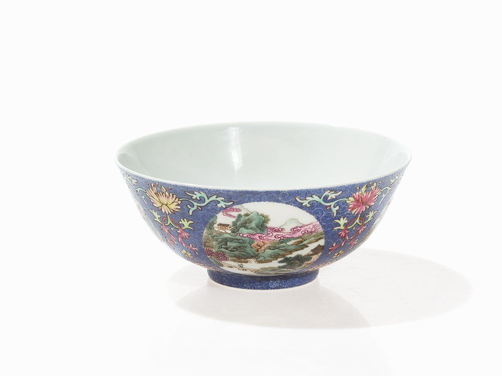 Blue-Ground Medallion Bowl, Daoguang Mark and Period