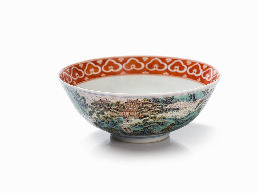 Landscape Bowl with Lushan Waterfall, Jiaqing Mark and