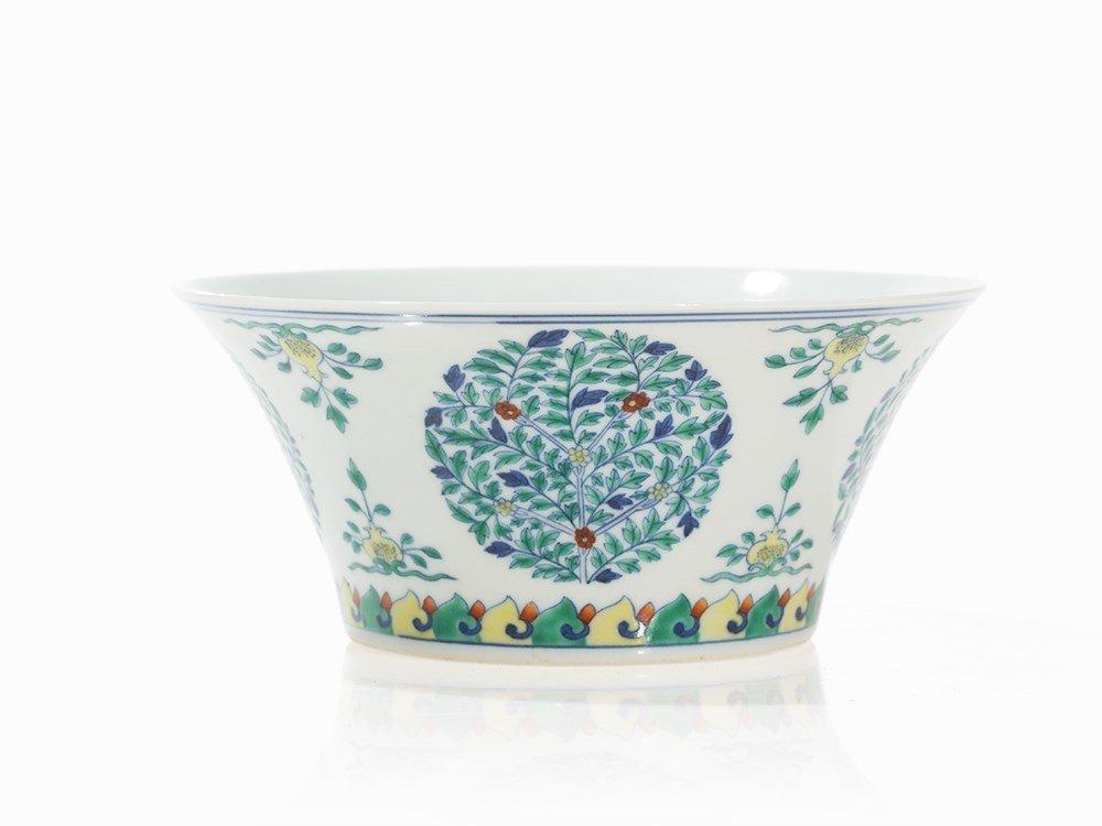 Doucai 'Fruit' Medallion Bowl with Flowers,