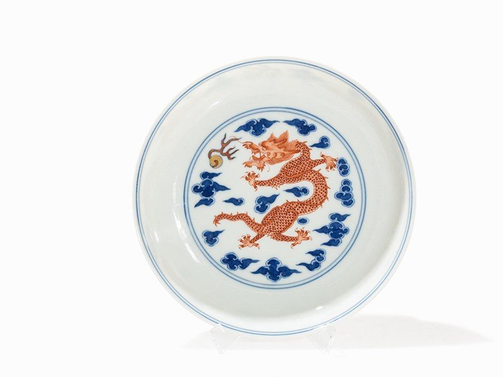 Iron red and Underglaze Blue 'Dragon' Dish,