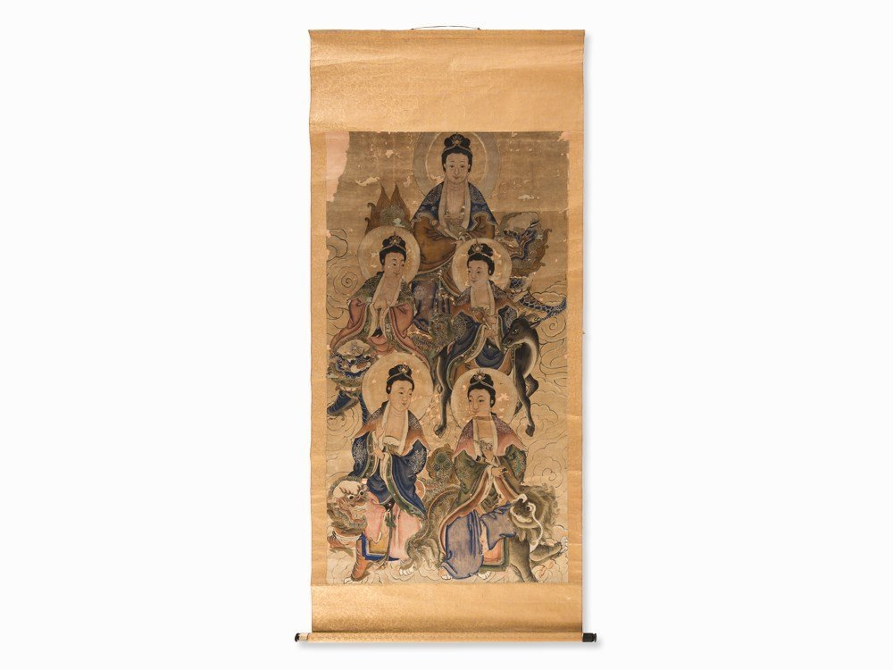 Scroll Painting with the Depiction of 5 Guanyin, Ink,
