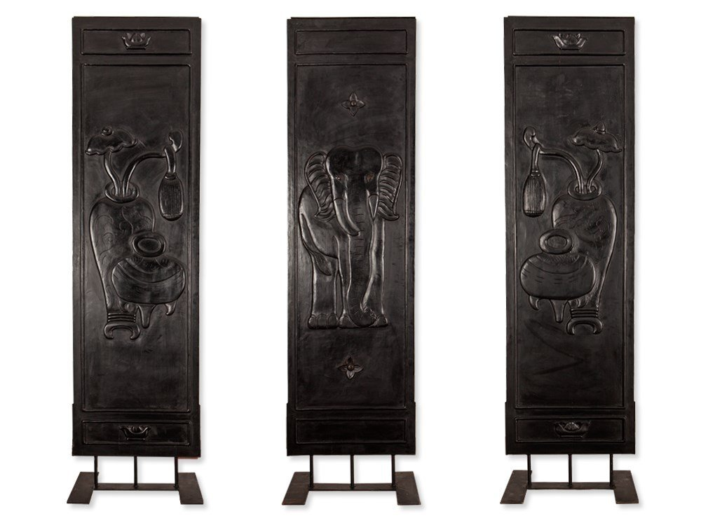 3 Carved Wooden Panels with Elephants in Relief, China,