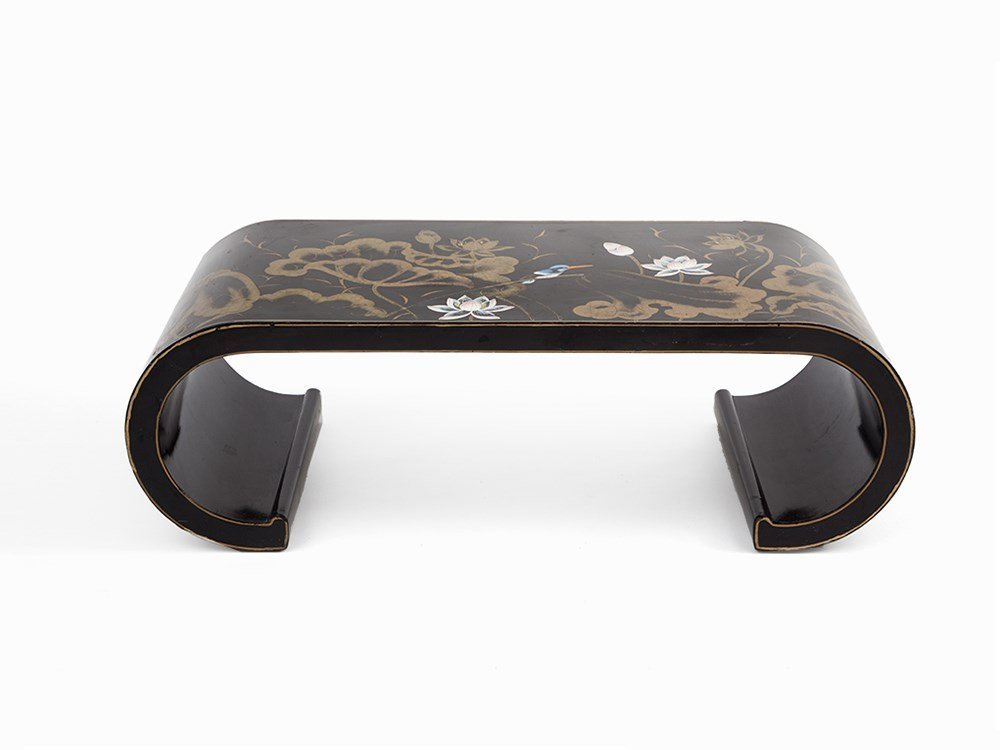 Rectangular Chinese Lacquer Table with Floral Decor, c.