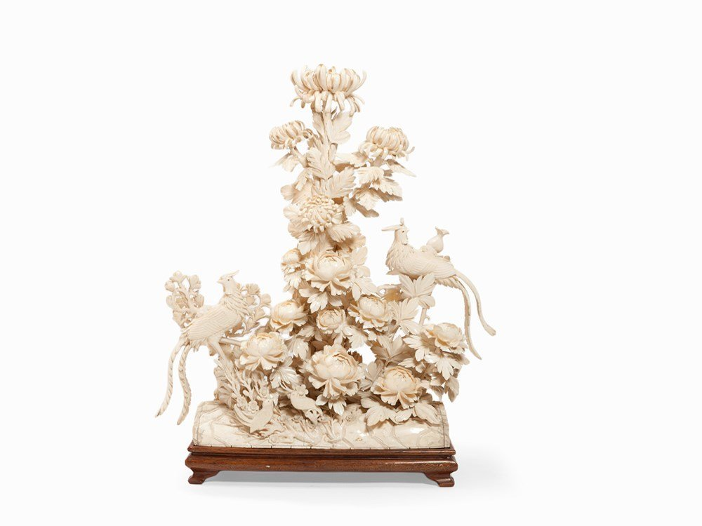 Carved Ivory Chrysanthemum with Phoenixes, China, early