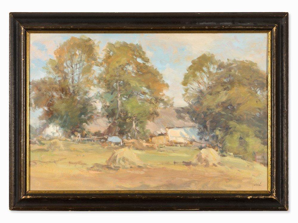 Oil Painting, Farm with Haystacks, Austria/Hungary, c.