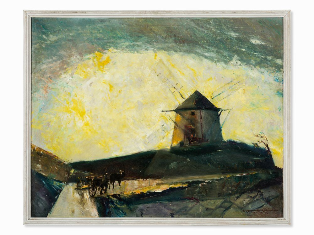 Karl Schistl, Oil Painting, Landscape with Windmill, c.