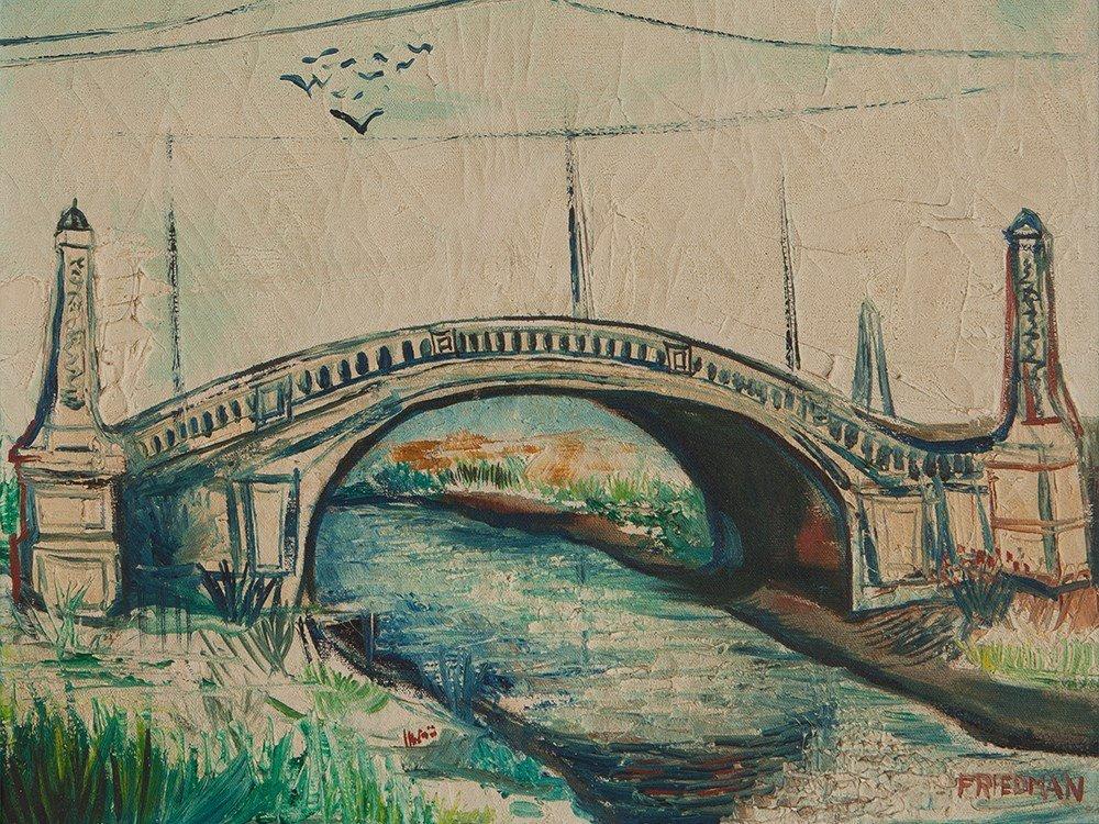 Oil Painting Bridge Across the River, presumably USA,