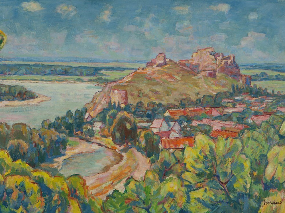 Oil painting, Summery Riverscape with castle, around