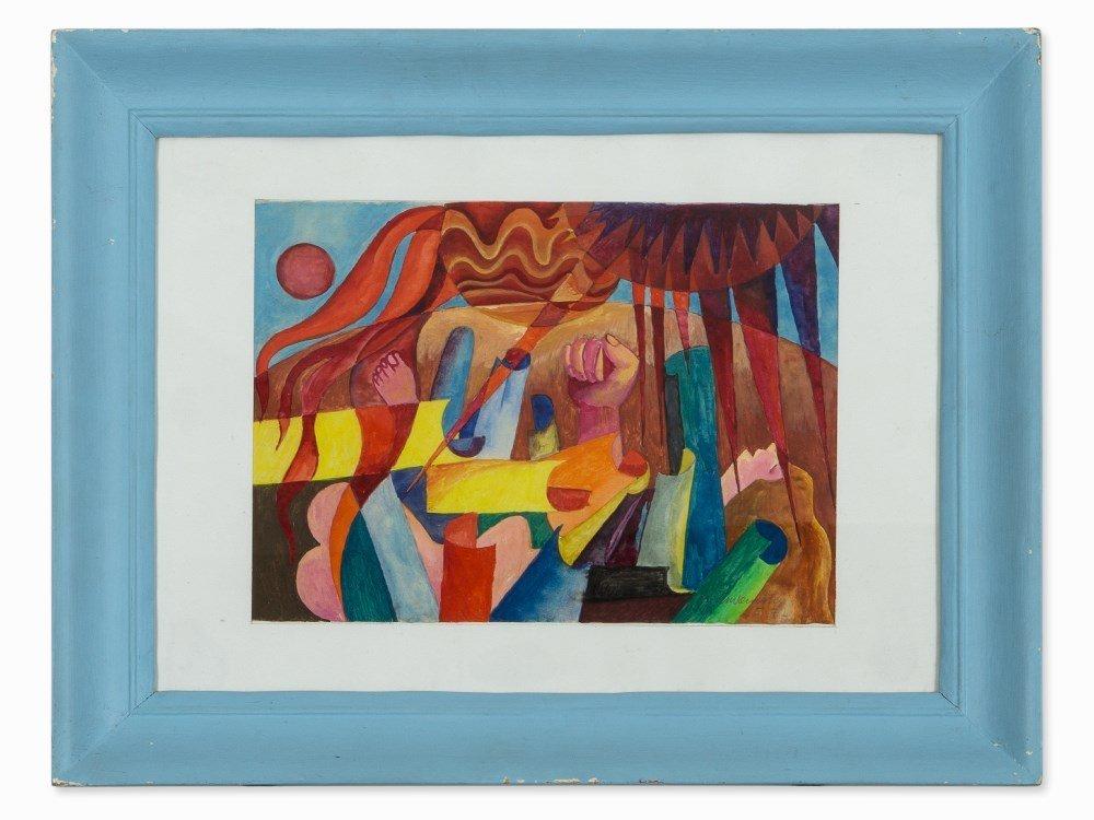 Gouache, Color Intense Composition, presumably Austria,