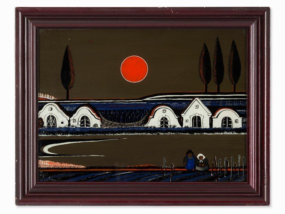 After Gottfried Kumpf, Reverse Glass Painting, Austria,