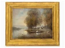 Herbert Heinisch, Oil Painting, Autumn Landscape, circa