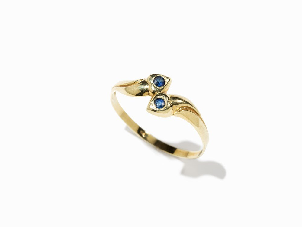 Sapphire Snake Ring, 14 K Gold, Germany, Late 20th