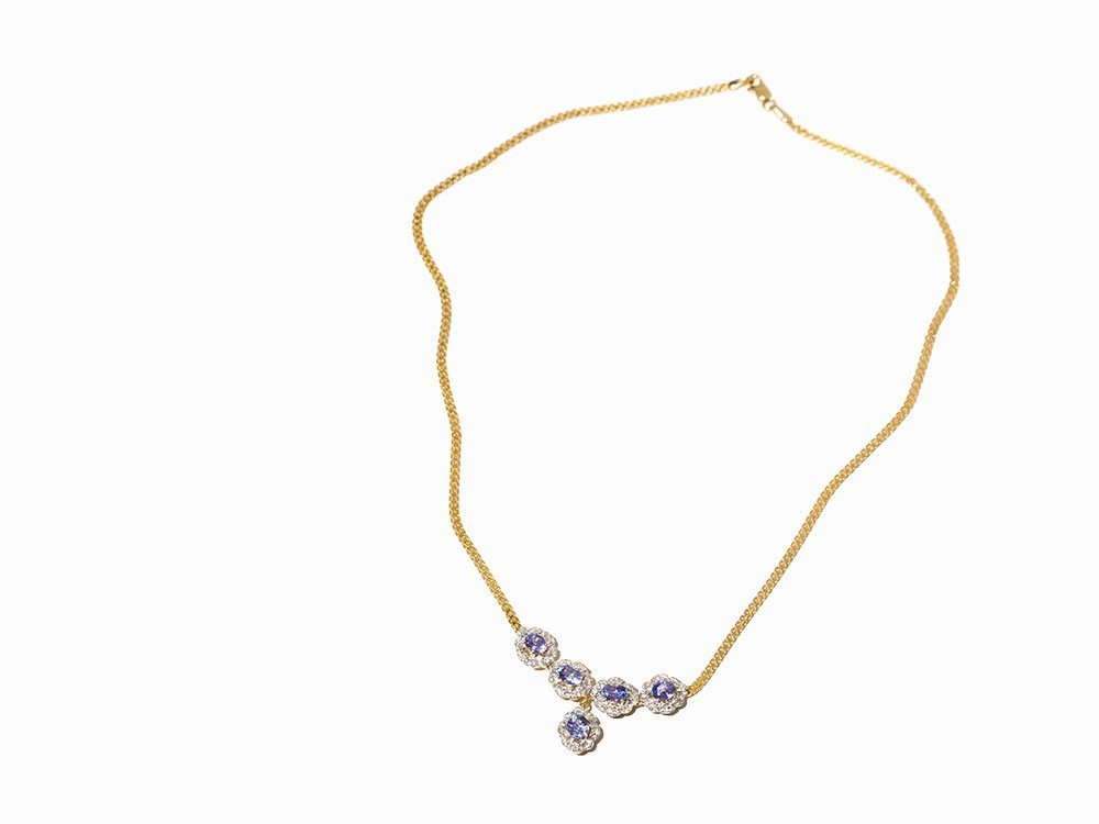 Necklace with Blue-Violet Gemstones and Diamonds, 14K