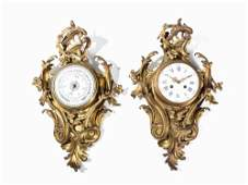A Rococo-Style Cartel Clock and Barometer, France, 19th