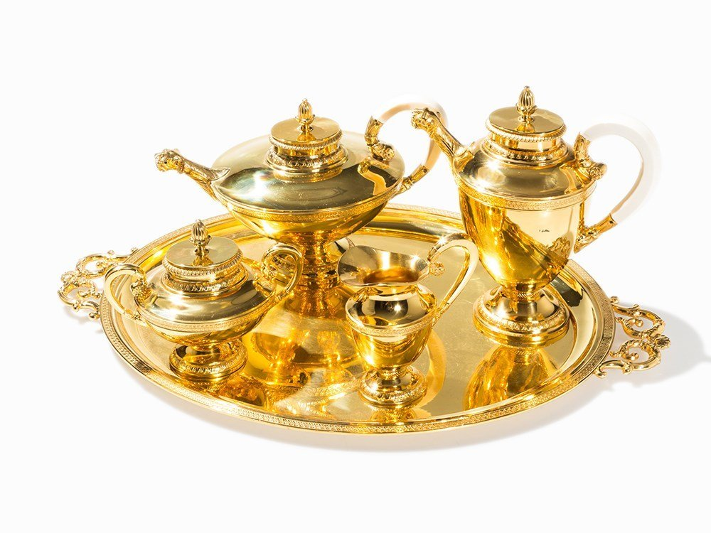 Gold-Plated Sterling Silver Coffee- and Tea Set,