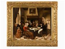After Jan Steen (1626-1679), The King's Fest, Oil, 18th