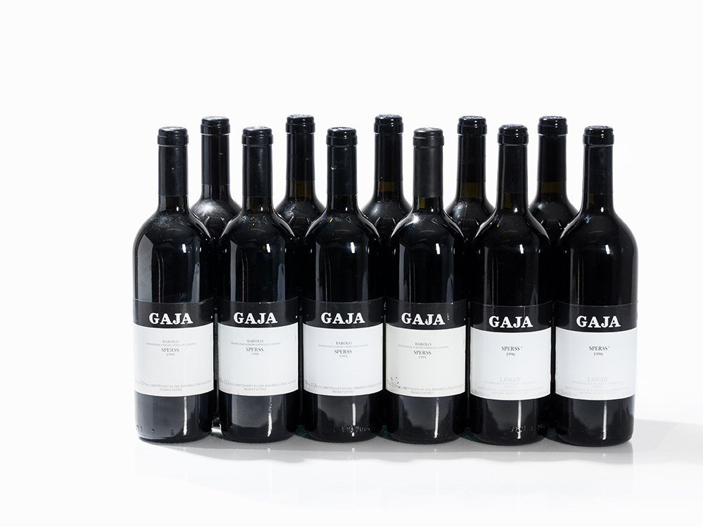 11 Bottles 1990/1991/1996 Gaja Barolo Sperrs, Piedmont