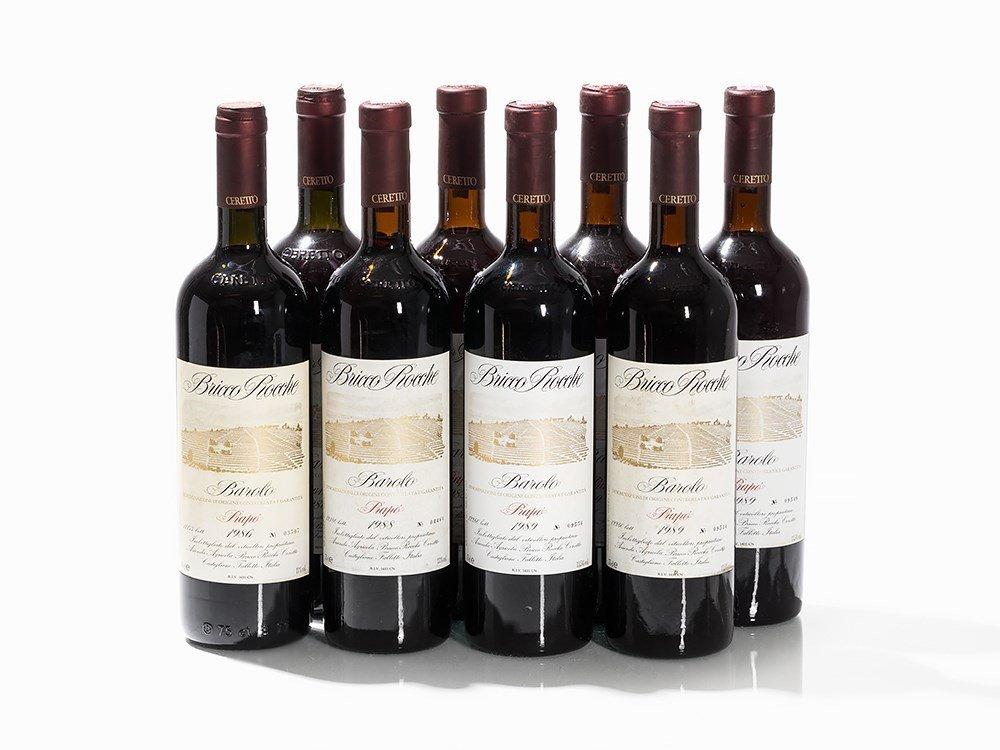 8 Bottles 1986/1988/1989 Ceretto Bricco Rocche Barolo