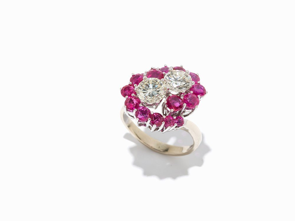 Cocktail Ring with 16 Rubies and 2 Diamonds, 18K White