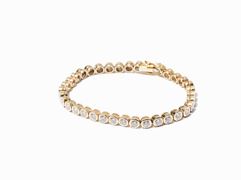 Tennis Bracelet with 36 Diamonds of c. 7.2 Ct, 14K Gold
