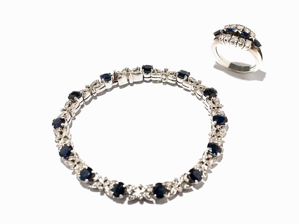 Set, Bracelet and a Ring with Sapphires and Diamonds,